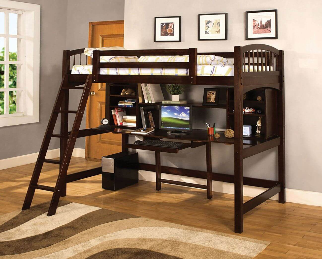 Furniture Of America Ashby Twin Loft Bed With Workstation