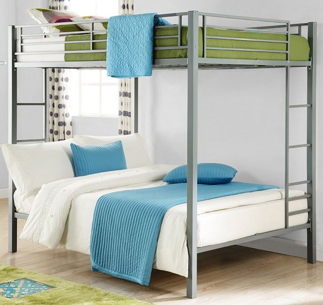 DHP Full Over Full Metal Bunk Bed, Sturdy Frame with Metal Slats, Silver Introduction2