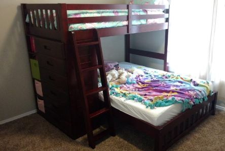 Twin Over Full Loft Bed in Merlot Finish1