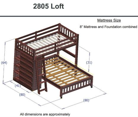 Twin Over Full Loft Bed in Merlot Finish2