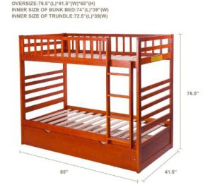 Merax Bunk Bed Twin Over Twin with Trundle Bed
