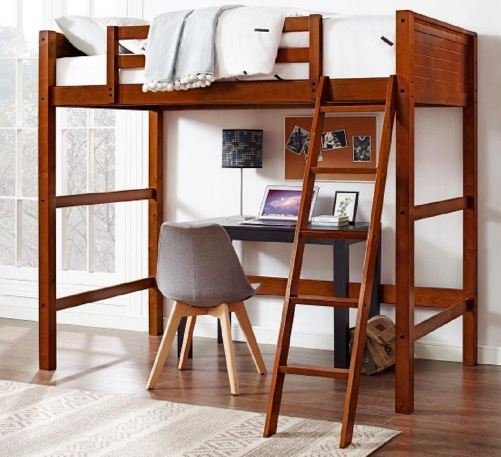 Your Zone Twin Wood Loft Style Bunk Bed1