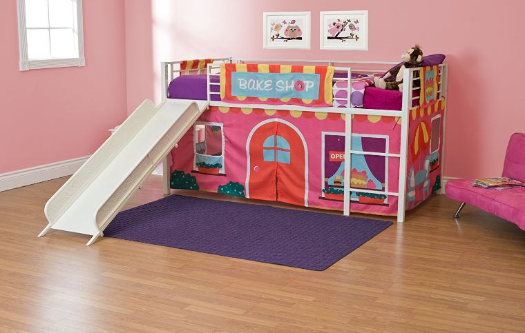 DHP Junior Twin Metal Loft Bed with Slide1