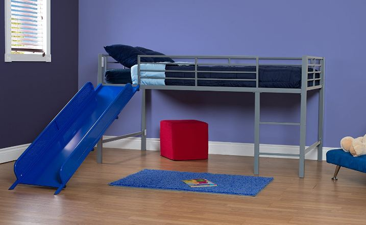 DHP Junior Twin Metal Loft Bed with Slide2