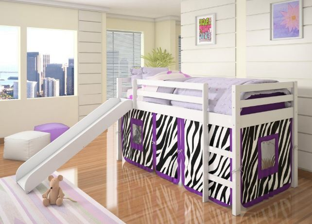bunk beds with slide and tent 1